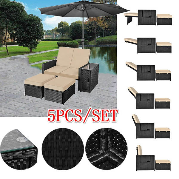 Fabulous 5Pcs Patio Wicker Loveseat Outdoor Rattan Sofa Set With Cushion Adjustable Lounge Chair With Ottoman Footrest Wicker Furniture For Garden Patio Machost Co Dining Chair Design Ideas Machostcouk