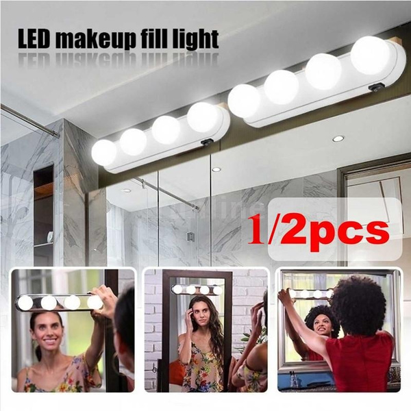 Image result for 4 LED Bulbs Portable Cosmetic Mirror Light Kit""