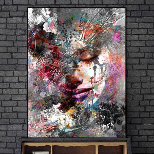 Abstract Girl Wall Paintings Print On Canvas Wall Art Prints Graffiti Art Prints Modern Pop Art Wall Pictures For Living Room