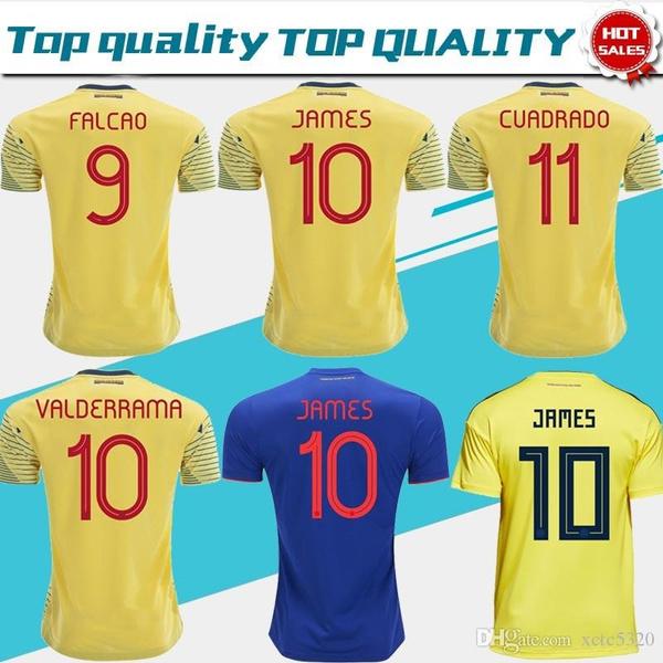 best website 15cb7 59816 2019 Colombia soccer Jersey Colombia Home yellow Soccer shirt 2018 #10  JAMES #9 FALCAO #11 CUADRADO Thai away blue Football uniform