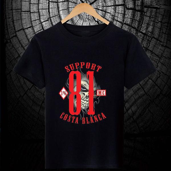 61 Support81 Hells Angels 1/% Big Red Machine Biker 666 T-Shirt Support Eye Black