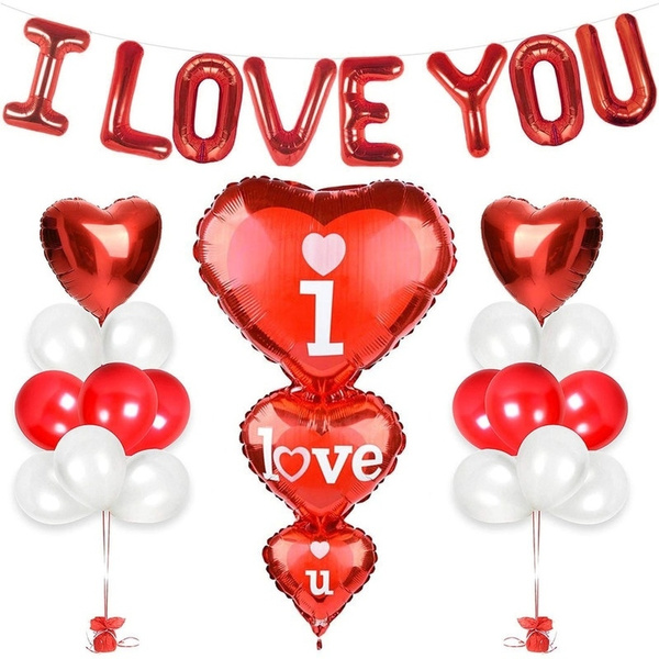 """30/"""" Giant Letters Foil Balloons Heart Foil Baloons i love u valentines day decor"""