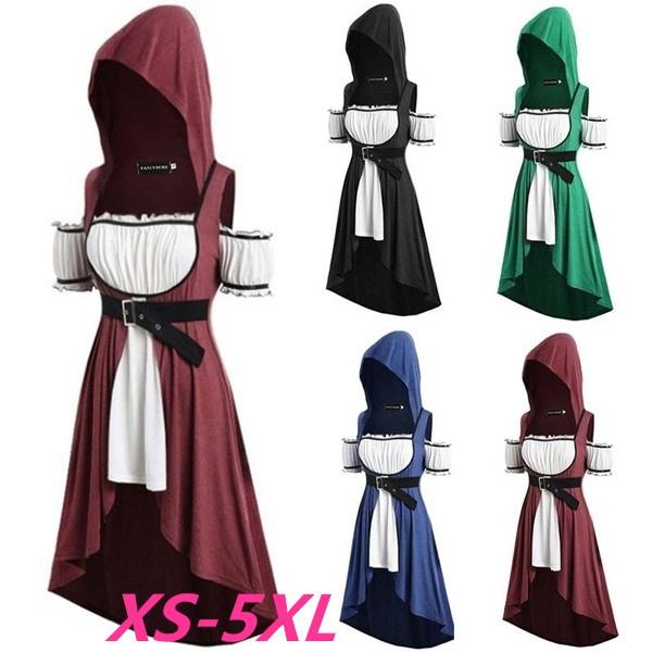 Women Renaissance Medieval Halloween Gown Hoodie Costume Cosplay Victorian Dress