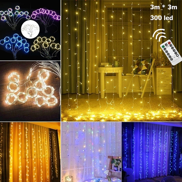 Christmas Light Remote Controls.3m 3m 300 Led Curtain Light String Festival Party Wedding Christmas Outdoor Decoration Lights With Remote Control 8 Modes Led String Light