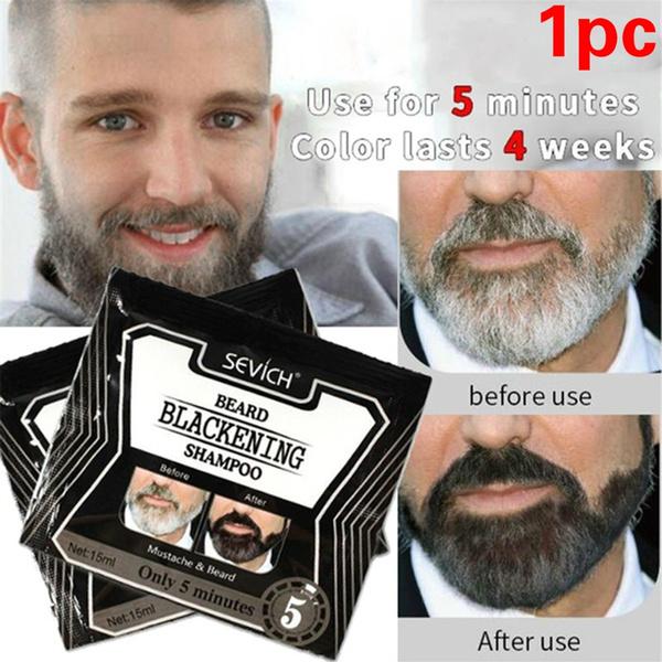 15ML Fast Hair Coloring Black Mustache Tint Cream Beard Dye Blackening  Shampoo
