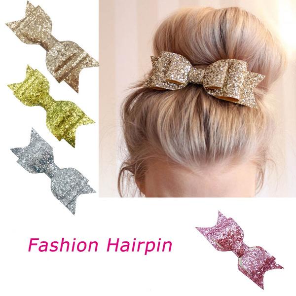 Elegant Women Girl/'s Sequins Big Bowknot Barrette Hairpin Hair Clips Hair Bow