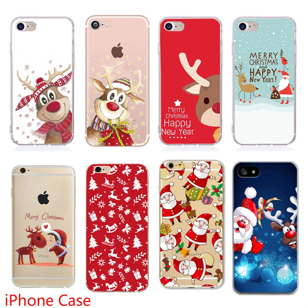 Soft Tpu Silicone Phone Cases Coque Merry Christmas Santa Claus Happy New Year For Iphone 5 5s Se Iphone 6 6s Plus Iphone 7 8 Plus Iphone X Xs Iphone