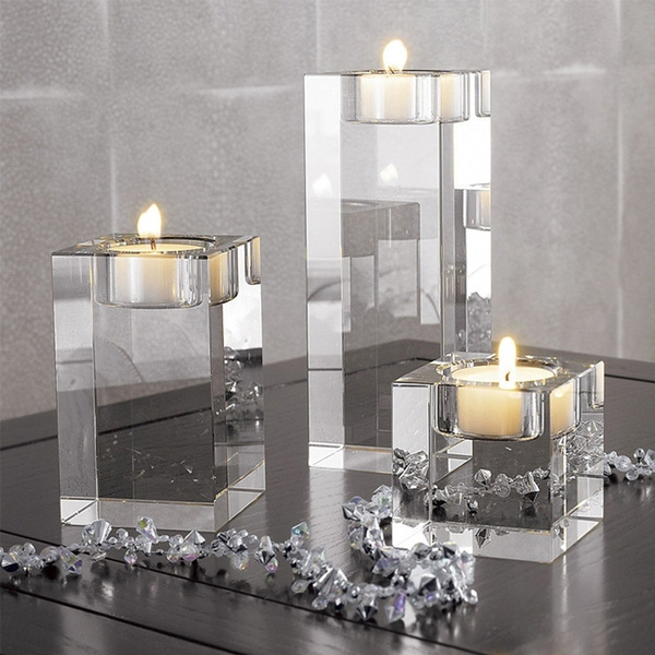3 Piece Crystal Gl Candle Holder Set