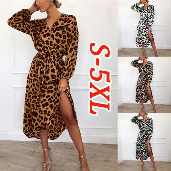 Autumn Ladies V Neck Leopard Print Dress Irregular Casual Long Sleeve Dress  Loose Maxi Club Dresses Plus Size