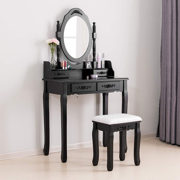 Makeup Dressing Table With Oval Mirror Bedroom Vanity Set W Cushioned Stool 4 Drawers Women S Kids
