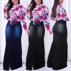 Jeans, long skirt, Moda, high waist