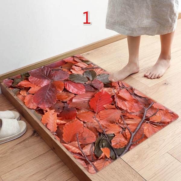 Wish   50*80CM 3D Leaf Floor Mat Carpet Soft Flanner Doormat Rugs for Bedroom Living Room Door Floor Hallway Mats(6Style)