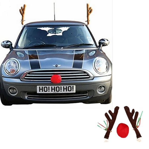 Christmas Car Decorations.Funny Christmas Car Decorations Reindeer Antlers Truck Xmas Party Decor Kit New