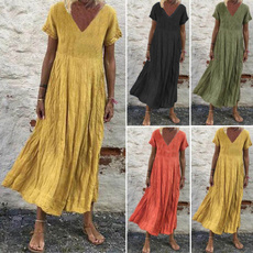 pleated dress, robefemme, summer dress, V Neckdress