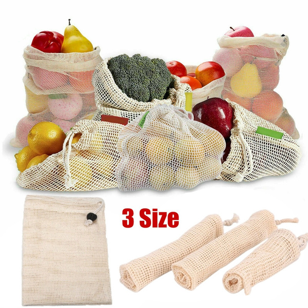 ECO Reusable Cotton Mesh Produce Bags Grocery Fruit Storage Shopping String Bag