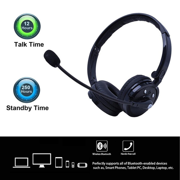 Bluetooth Headphones With Mic Wireless Bluetooth Trucker Headset Noise Cancelling Headphones With Boom Microphone On Ear Phone Headset For Office Phone Call Center Customer Service Pc Cell Phones Wish