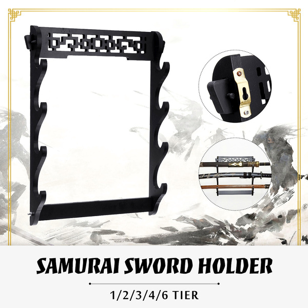 6 Szie Wall Mount Samurai Katana Sword Holder Stand Hanger Bracket Rack Display