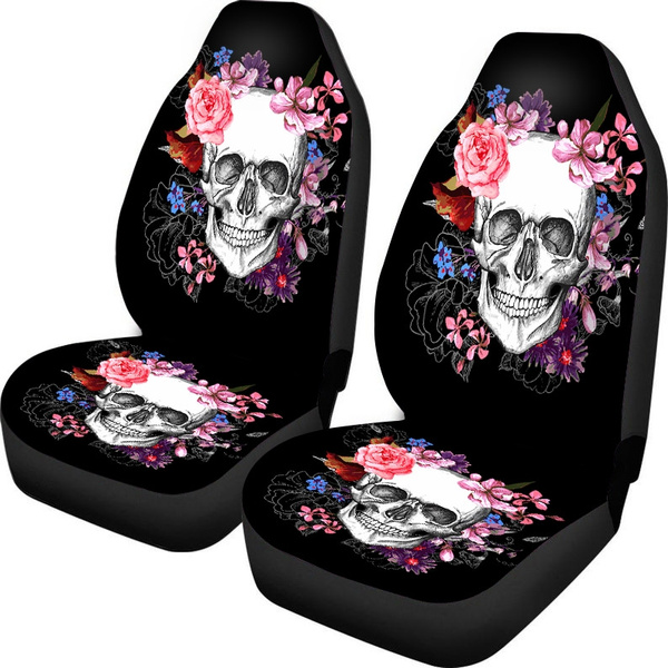Wondrous 1 2 Pack Sugar Skull Car Seat Covers Car Seat Covers Front Universal Fit For Car Truck Suv Machost Co Dining Chair Design Ideas Machostcouk