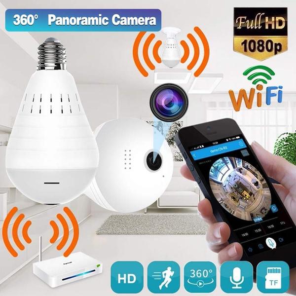 1080P HD wireless WIFI network bulb camera 360° panoramic RC E27 white light