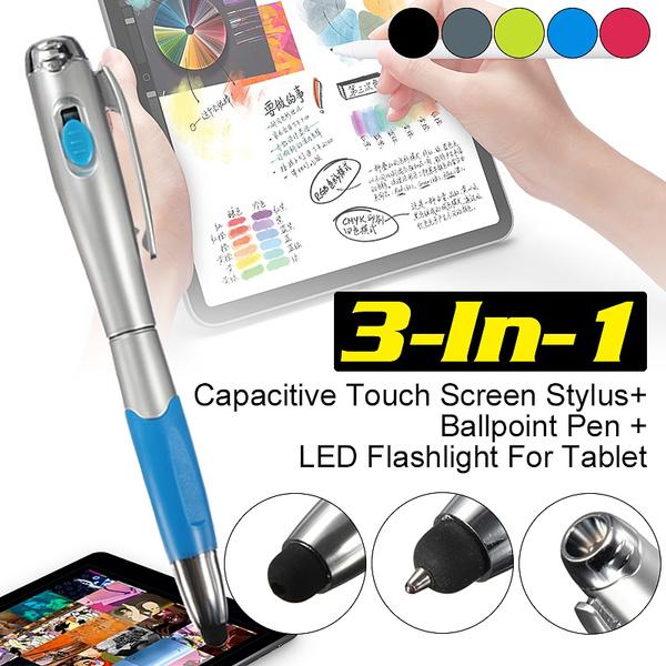 LED Flashlight iPad Ballpoint Pen 1pc 3-in-1 Capacitive Touch Screen Stylus