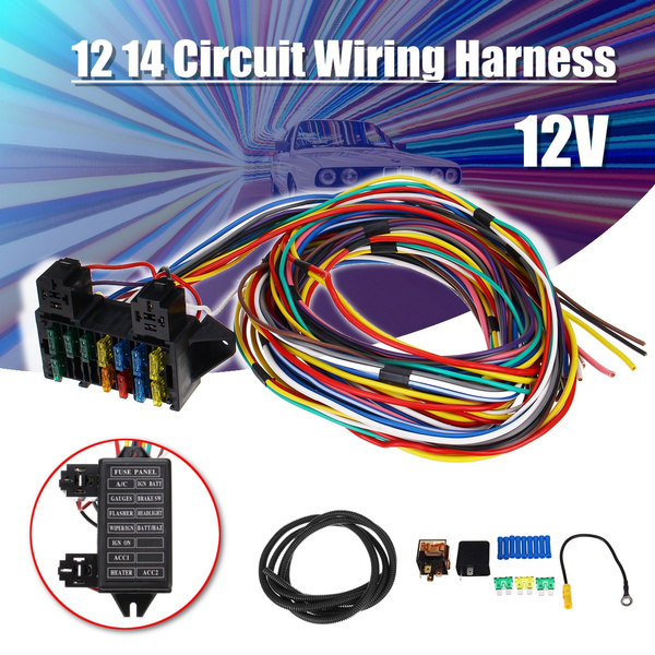 [TBQL_4184]  12-14 Circuit Universal Wiring Harness 14 Fuse 12V Muscle Car Hot Rod  Street XL Wires | Wish | Large Wiring Harness |  | Wish