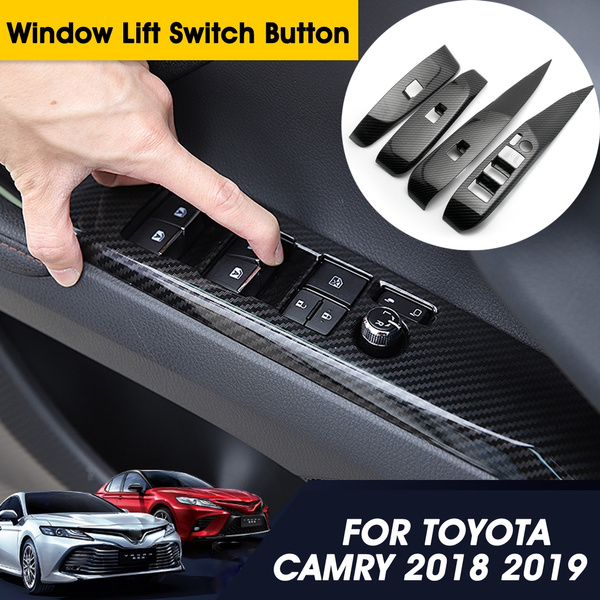 For TOYOTA CAMRY 2018 Carbon Fiber Style Window Lift Switch Button Panel Trim