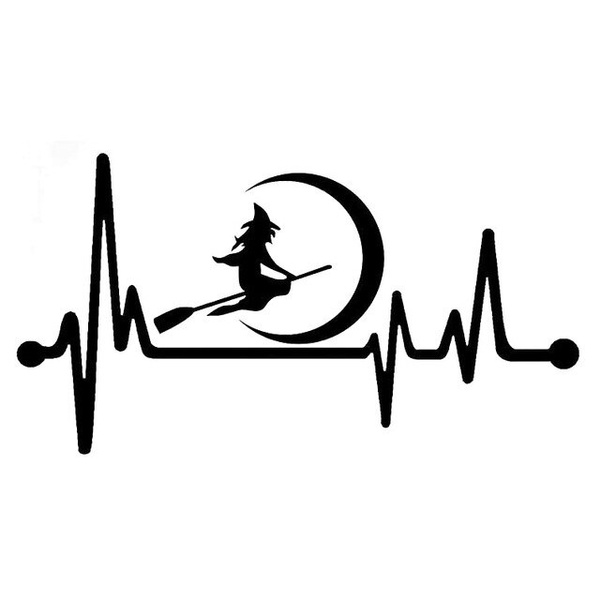 K1155 Witch Moon Broom Heartbeat Decal Sticker Greek Triple Goddess Pagan Wiccan