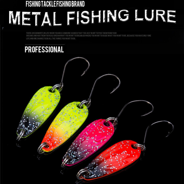1Pc New Sequins Metal Portable Treble Hook Crank Bait Spoon Spinner Fishing Lure