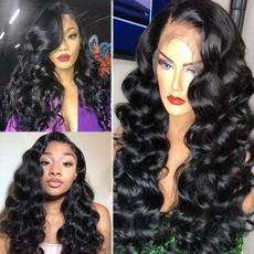 wig, Black wig, Lace, synthetic wig