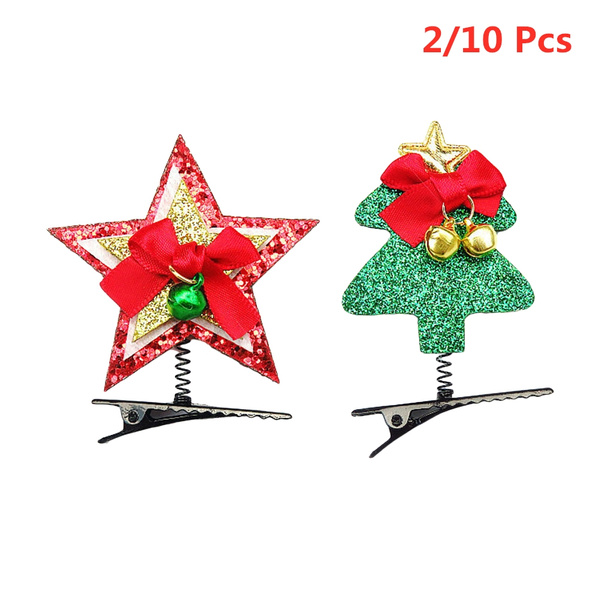 Christmas Hair Clips.2 10pcs Cute Christmas Hair Clips Xmas Bell Christmas Tree Sequins Barrette Hair Accessories For Girls