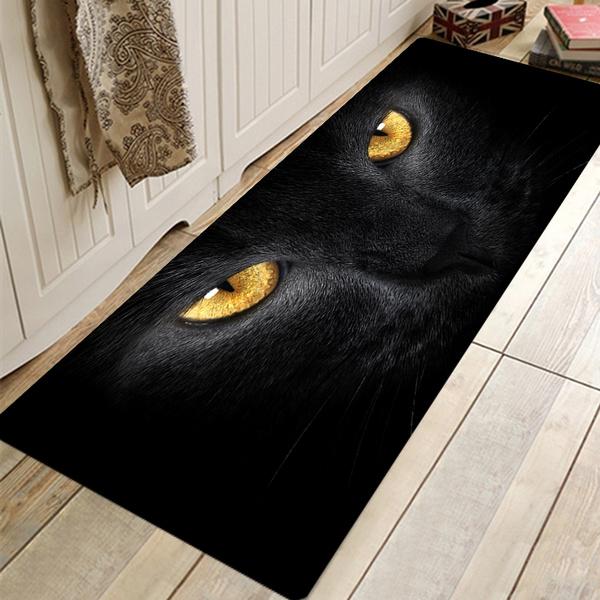 Black Cat Kitchen Floor Rug Non Slip