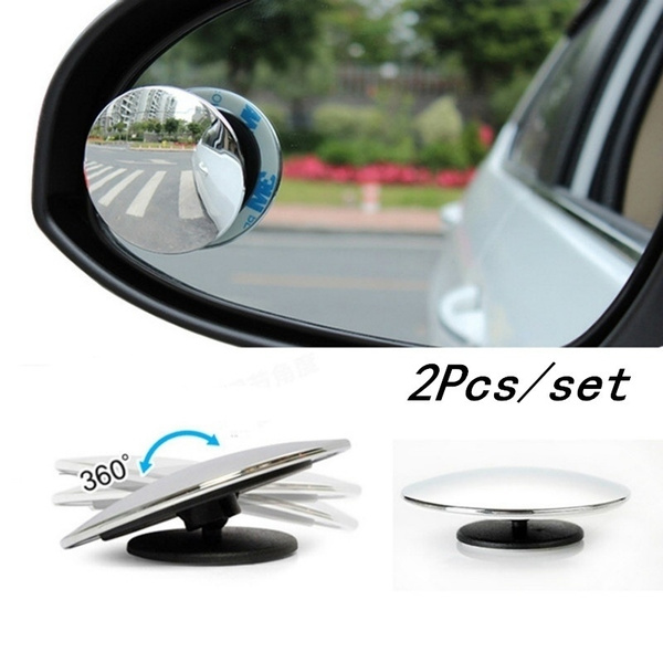 2Pcs Car Wide Angle Mirror Convex Rearview Side View Mirror Blind Spot Mirrors