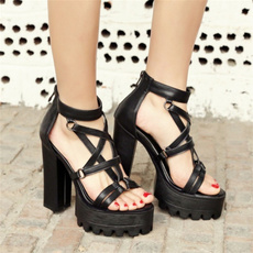 Summer, Goth, Sandals, thickheel