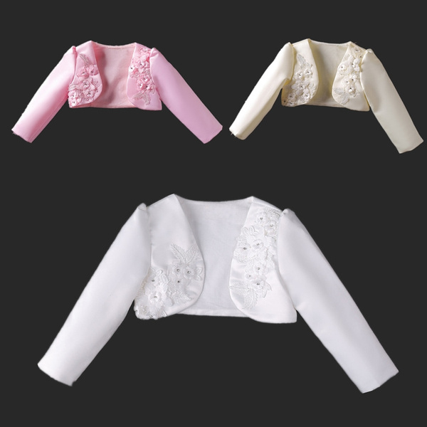 Ivory//Pink Bolero Shrug Short Cardigan for Bridesmaids//Flower Girls and Parties