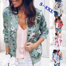 casual coat, Pocket, Plus Size, floraljacket