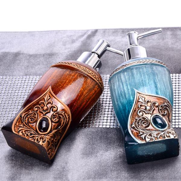 Wish |  Creative Home Ornament Bathroom Accessories 300ML Shampoo Storage Holder Resin Craft Bas Relief Liquid Bottle Kitchen Accessories Hand Sanitizer Bottle Personality Shower Gel Dispenser