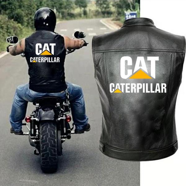 New Mens Caterpillar Pu Leather Jacket Vest Men Motorcycle Spring Jackets Caterpillar Cat Black Streetwear Waistcoat