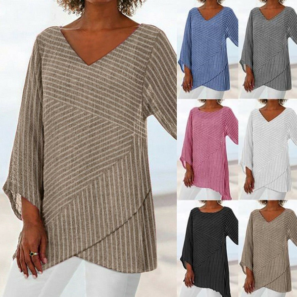 Women Plus Size Summer Striped V Neck Blouses Loose Baggy L Casual Tops T Shirts