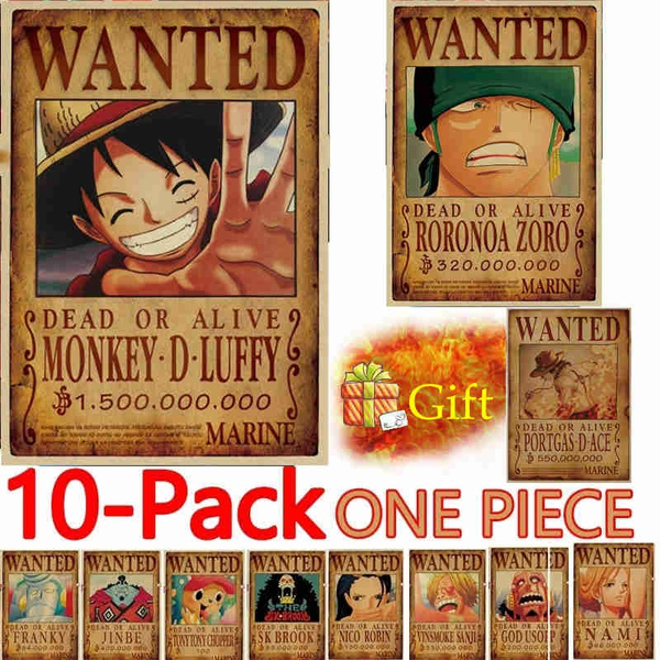 The Straw Hat Pirates Wanted Poster Whole Group Wanted Poster 10 Pcs15 Billion Luffy And Send The Portgasd Ace As Gift 5035cm