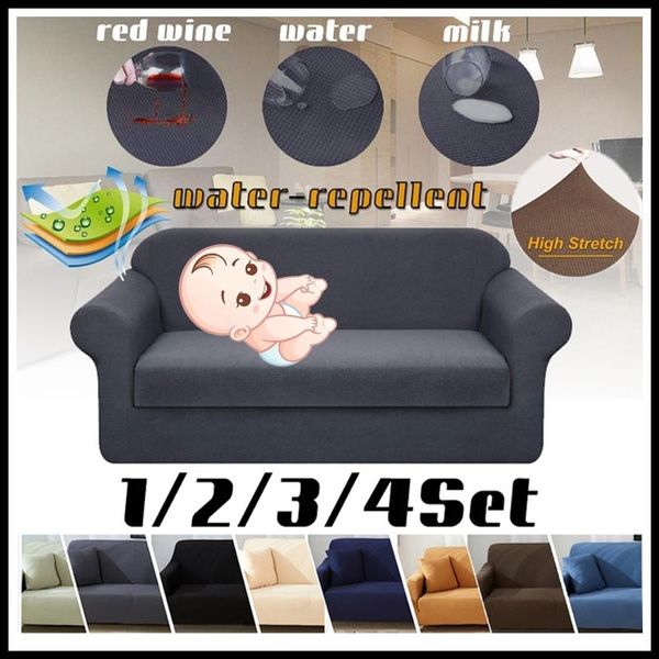 Swell Lellen Waterproof And Oil Proof Anti Pet Sofa Cover Couch Covers 1 2 3 4 Seaters Solid Color Stretch Furniture Stretch Slipcovers Single Sofa Uwap Interior Chair Design Uwaporg
