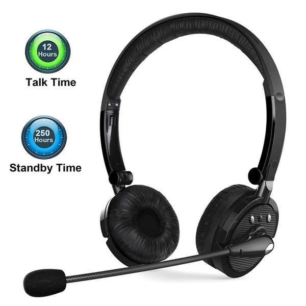 Bluetooth Headphones Multipoint Noise Cancelling Foldable Over The Head Wireless Headset With Boom Microphone Hands Free For Iphone Samsung Galaxy Android Phones Updated Version Black Wish