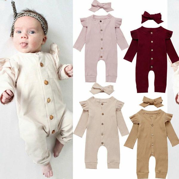 2PCS Newborn Baby Girls Long Sleeve Romper Jumpsuit+Headband Outfits Clothes Set