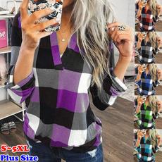 plaid shirt, blouse, Plus Size, Tops & Blouses