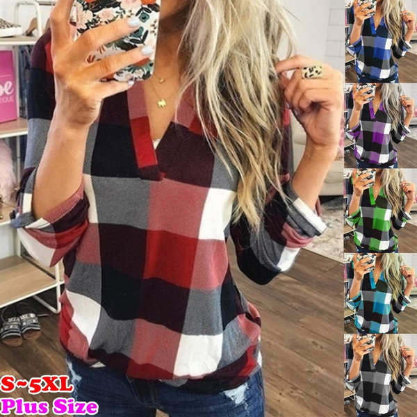 plaid shirt, blouse, womens top, Tops & Blouses