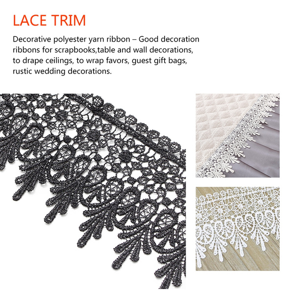 10 yards Handicrafts Embroidered Net Lace Trim Ribbon Bow Wedding Sewing Crafts