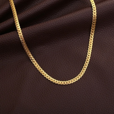 goldplated, yellow gold, Chain Necklace, Men  Necklace