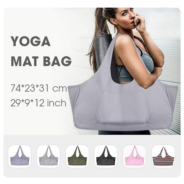 Large Yoga Mat Bag Yoga Mat Tote Sling Carrier With Large Side Pocket Yoga Mat Holder Fits Most Size Mats Wish