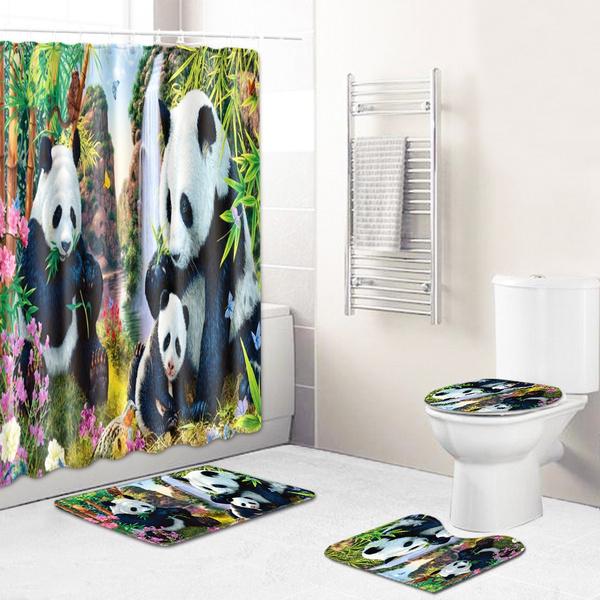 Wish   Chinese Panda Style Waterproof Bathroom Shower Curtain Non-Slip Rug Set Pedestal Rug Lid Toilet Cover Bath Mat Shower Curtains for Bathroom Decor