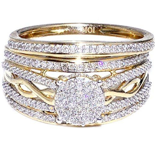 Dazzling Women S 14k Yellow Gold Diamond Ring Set Anniversary Gift