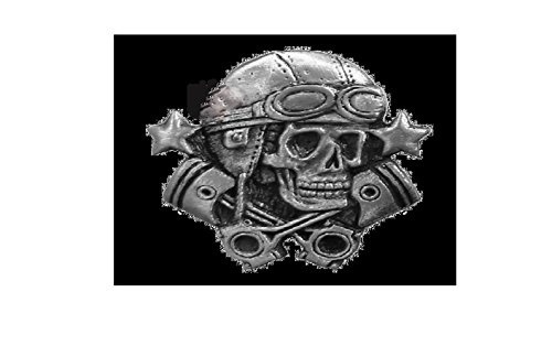 Aviator Skull High Quality Pewter Pin Badge with Secure Locking Backs
